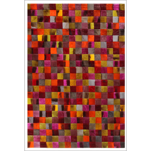 Premium Designer Leather Checkered Multi Rug - Rugs Of Beauty - 1