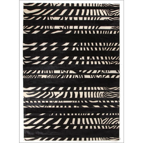 Premium Designer Leather Striped Zebra Rug - Rugs Of Beauty