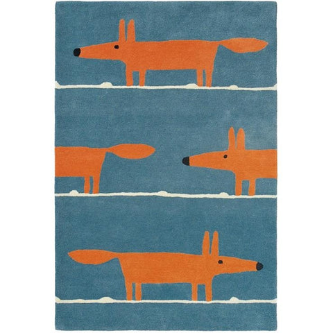 Scion Mr Fox Denim 25318 Modern Designer Wool Rug - Rugs Of Beauty - 1