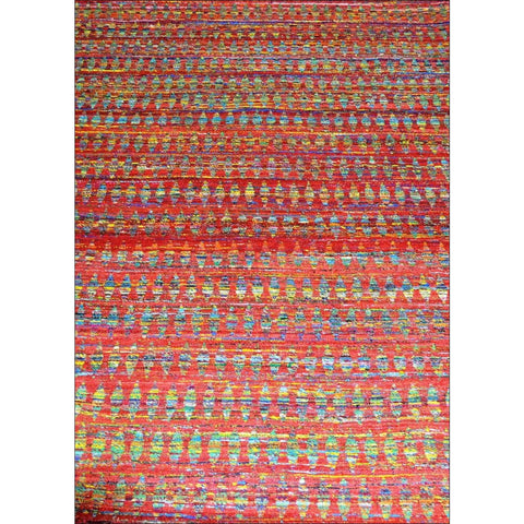 Handmade Flatweave Red Silk Patterned Rug - Shenaz 1077 - Rugs Of Beauty