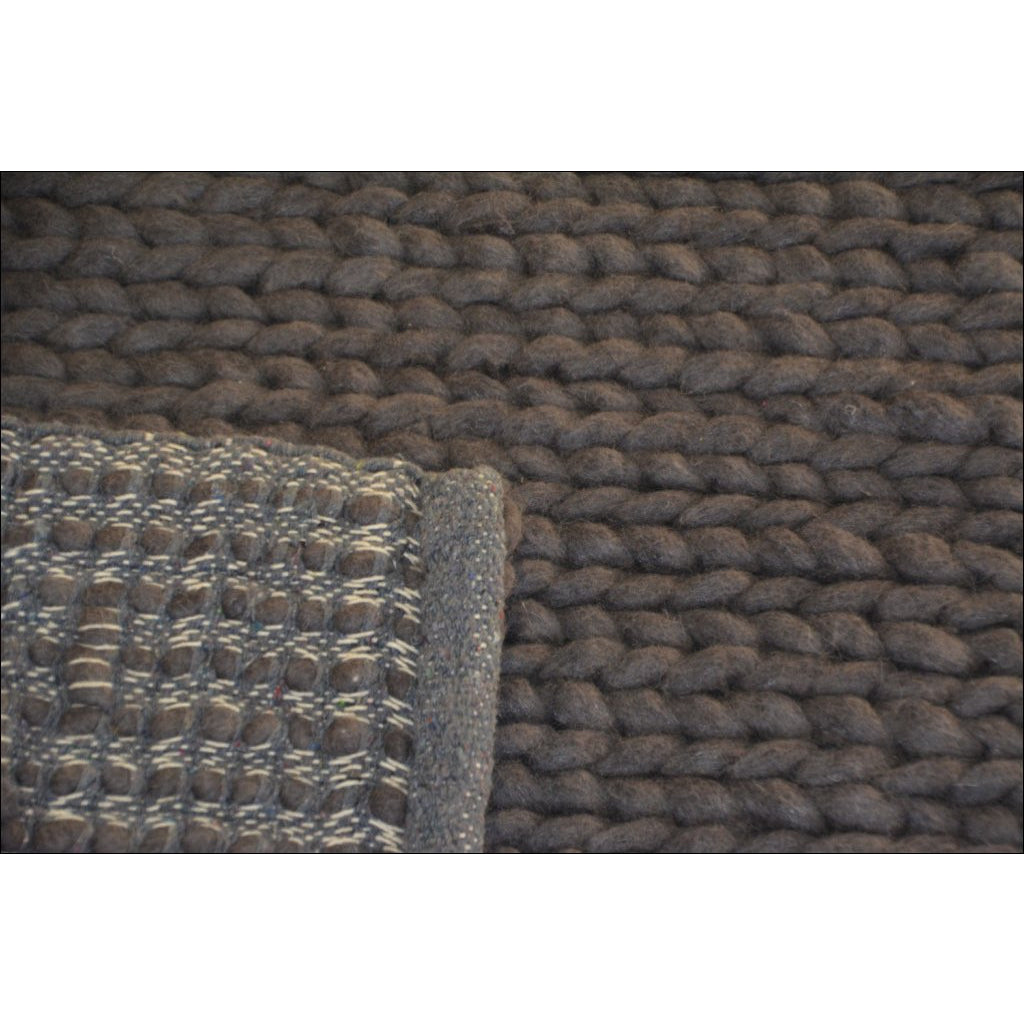 Hand Woven Felted Wool Braided Rug Link1003 Charcoal