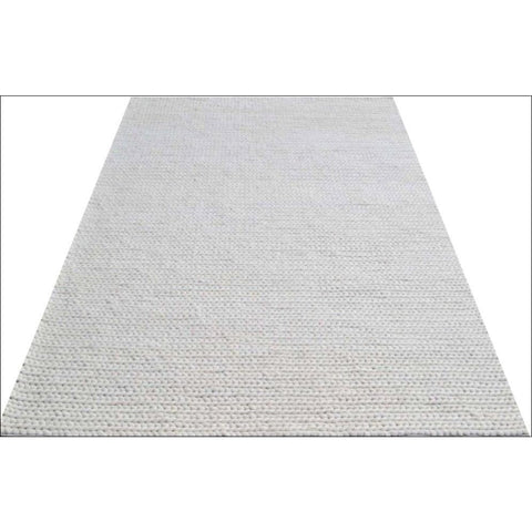 Hand Woven Felted Wool Braided Rug - Link1003 - Ivory White - Rugs Of Beauty