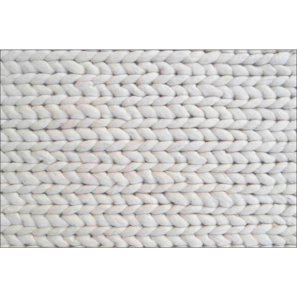 Hand Woven Felted Wool Braided Rug Link1003 Ivory White