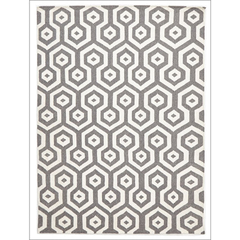 Urban Hive Flat Weave Wool Rug Grey - Rugs Of Beauty