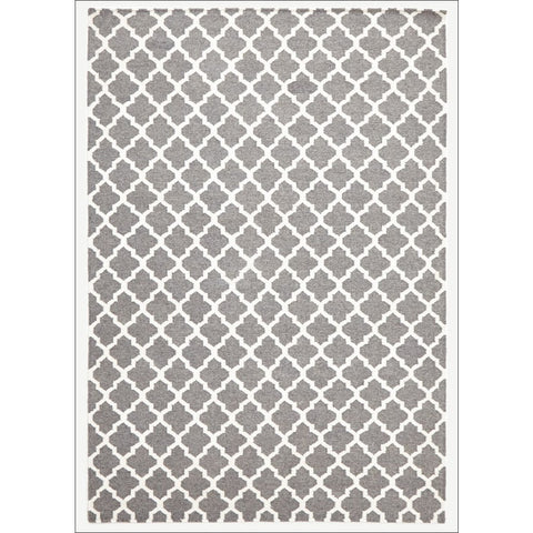 Bazaar Grey Trellis Wool Flatweave Kilim Rug - Rugs Of Beauty - 1