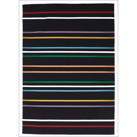 Oslo Multi Coloured Stripe Flat Weave Wool Rug Black - Rugs Of Beauty