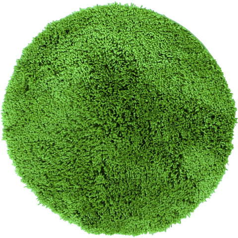 Arnhem Contemporary Lime Green Microfiber Soft Shaggy Round Rug - Rugs Of Beauty