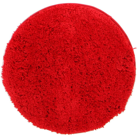 Arnhem Contemporary Red Microfiber Soft Shaggy Round Rug - Rugs Of Beauty