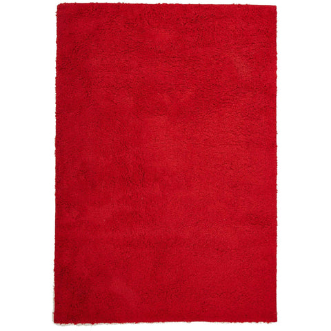 Arnhem Contemporary Red Microfiber Soft Shaggy Rug - Rugs Of Beauty