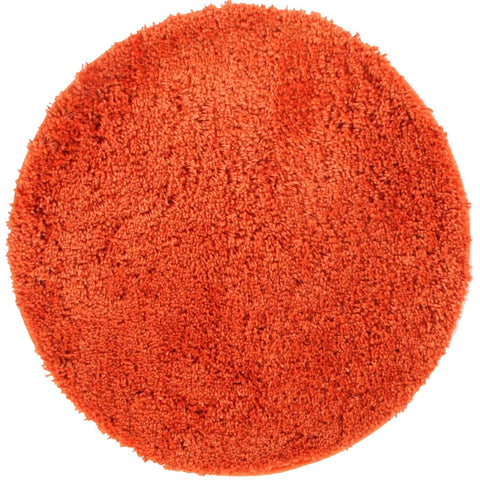 Arnhem Contemporary Rust Microfiber Soft Shaggy Round Rug - Rugs Of Beauty