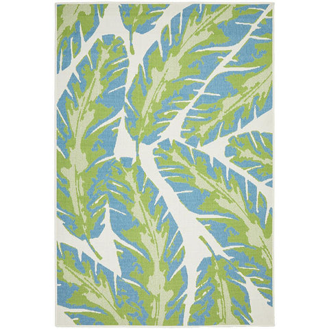 Coogee 4451 Green Blue Leaves Indoor Outdoor Modern Rug - Rugs Of Beauty - 1