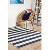 Coogee 4453 Navy Blue White Stripes Indoor Outdoor Modern Rug - Rugs Of Beauty - 3