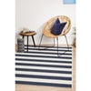 Coogee 4453 Navy Blue White Stripes Indoor Outdoor Modern Rug - Rugs Of Beauty - 4