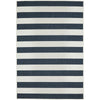 Coogee 4453 Navy Blue White Stripes Indoor Outdoor Modern Rug - Rugs Of Beauty - 1