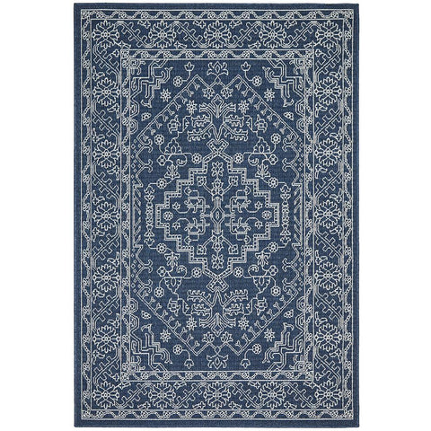 Coogee 4454 Navy Blue Tribal Indoor Outdoor Traditional Rug - Rugs Of Beauty - 1