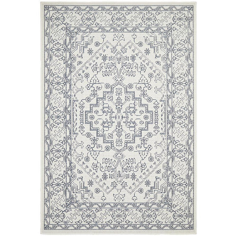 Coogee 4454 White Grey Tribal Indoor Outdoor Traditional Rug - Rugs Of Beauty - 1