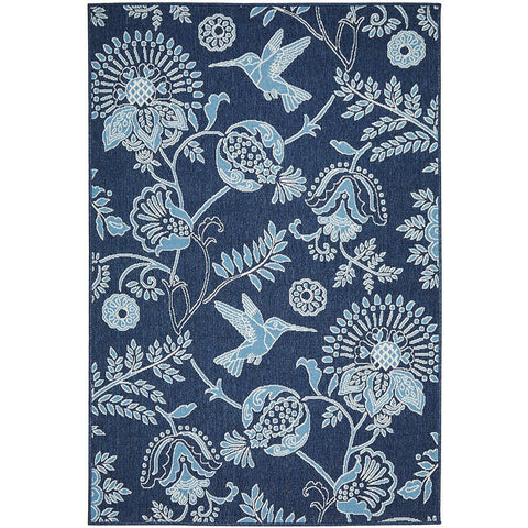 Coogee 4456 Navy Blue Hummingbirds Floral Indoor Outdoor Modern Rug - Rugs Of Beauty - 1