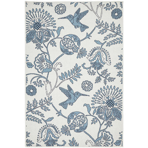 Coogee 4456 White Blue Hummingbirds Floral Indoor Outdoor Modern Rug - Rugs Of Beauty - 1