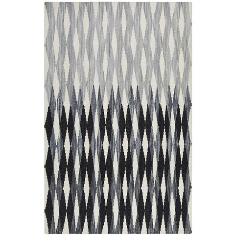 Avesta 1758 Black Multi Coloured Weave Pattern Modern Scandinavian Wool Rug - Rugs Of Beauty - 1