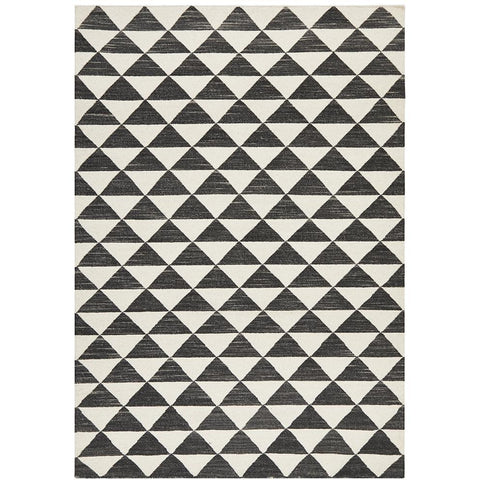 Avesta 1760 Black White Triangle Pattern Modern Scandinavian Wool Rug - Rugs Of Beauty - 1