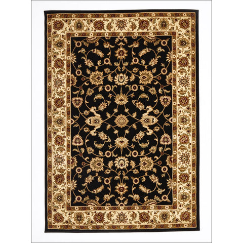 Classic Rug Black with Ivory Border - Rugs Of Beauty - 1