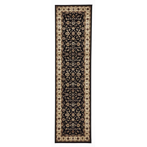 Charook 2376 Black Traditional Pattern Ivory Border Runner Rug - Rugs Of Beauty - 1