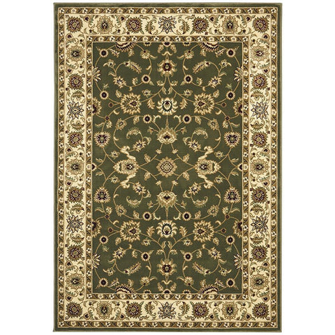 Charook 2376 Green Traditional Pattern Ivory Border Rug - Rugs Of Beauty - 1