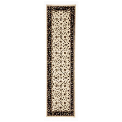 Charook 2376 Ivory Traditional Pattern Black Border Runner Rug - Rugs Of Beauty - 1
