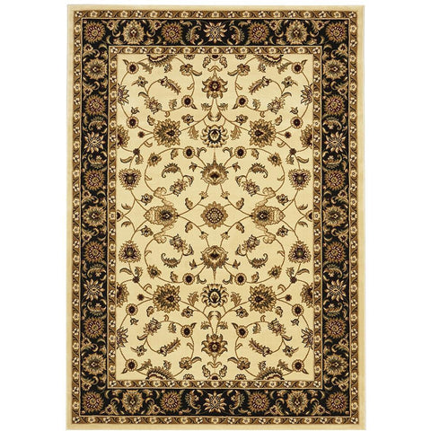 Charook 2376 Ivory Traditional Pattern Black Border Rug - Rugs Of Beauty - 1
