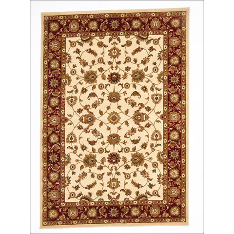 Charook 2376 Ivory Traditional Pattern Red Border Rug - Rugs Of Beauty - 1