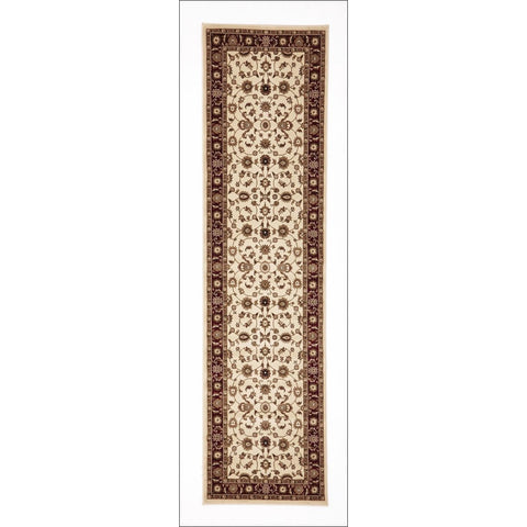 Charook 2376 Ivory Traditional Pattern Red Border Runner Rug - Rugs Of Beauty - 1
