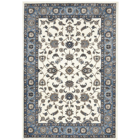 Charook 2376 White Traditional Pattern Blue Border Rug - Rugs Of Beauty - 1