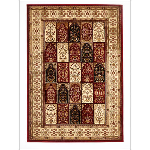 Traditional Panel Pattern Rug Burgundy - Rugs Of Beauty - 1