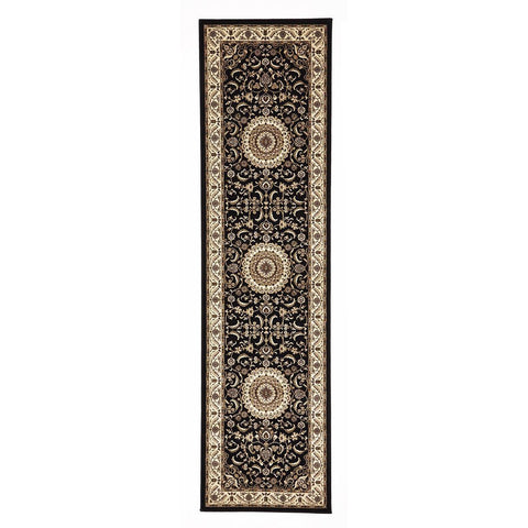 Charook 2375 Black Traditional Pattern Ivory Border Runner Rug - Rugs Of Beauty - 1