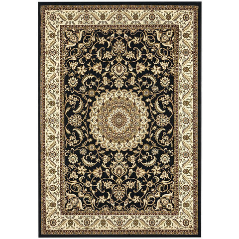 Charook 2375 Black Traditional Pattern Ivory Border Rug - Rugs Of Beauty - 1