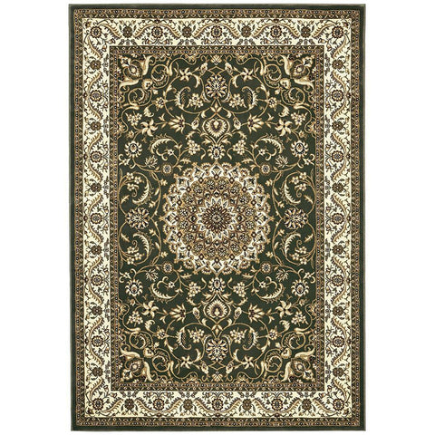 Charook 2375 Green Traditional Pattern Ivory Border Rug - Rugs Of Beauty - 1