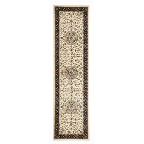 Charook 2375 Ivory Traditional Pattern Black Border Runner Rug - Rugs Of Beauty - 1