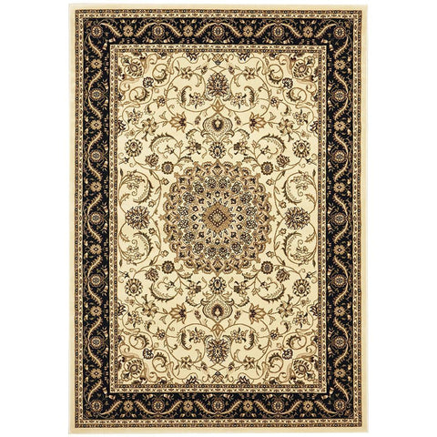 Charook 2375 Ivory Traditional Pattern Black Border Rug - Rugs Of Beauty - 1