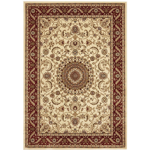 Charook 2375 Ivory Traditional Pattern Burgundy Border Rug - Rugs Of Beauty - 1