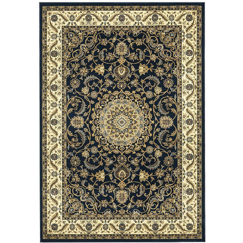 Charook 2375 Blue Traditional Pattern Ivory Border Rug - Rugs Of Beauty - 1