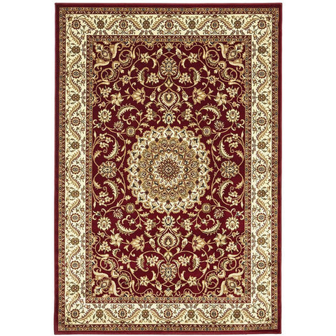 Charook 2375 Red Traditional Pattern Ivory Border Rug - Rugs Of Beauty - 1