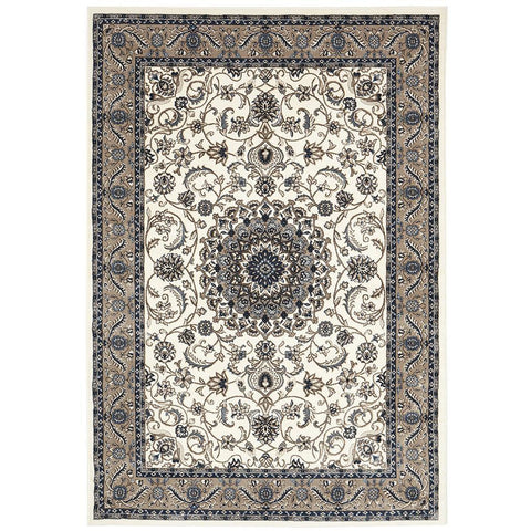 Charook 2375 White Traditional Pattern Beige Border Rug - Rugs Of Beauty - 1