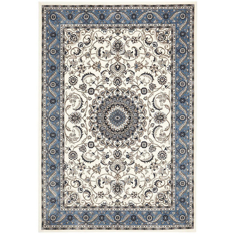 Charook 2375 White Traditional Pattern Blue Border Rug - Rugs Of Beauty - 1