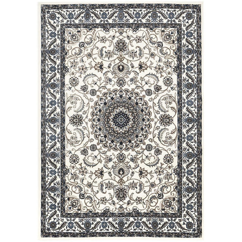 Charook 2375 White Traditional Pattern White Border Rug - Rugs Of Beauty - 1