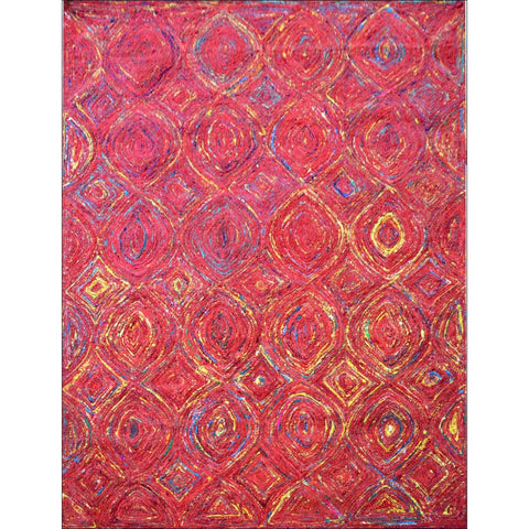 Handcrafted Sari Silk Tribal 1081 Rug - Multi Red - Rugs Of Beauty