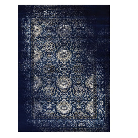 Kota 1422 Navy Blue Grey Beige Transitional Patterned Rug - Rugs Of Beauty - 1