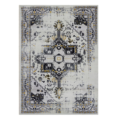 Kota 1423 Gold Beige Grey Transitional Patterned Rug - Rugs Of Beauty - 1