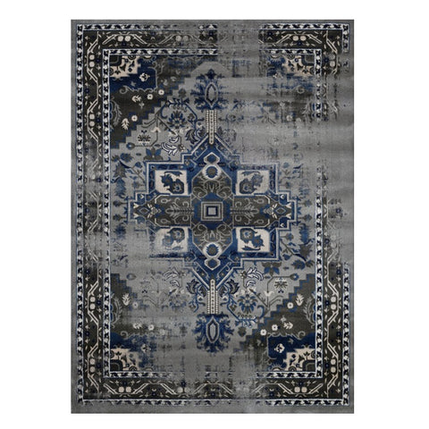 Kota 1423 Grey Blue Beige Transitional Patterned Rug - Rugs Of Beauty - 1