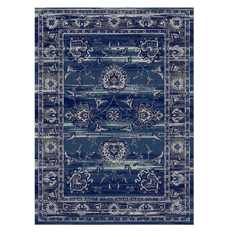 Kota 1426 Navy Blue Beige Transitional Patterned Rug - Rugs Of Beauty - 1