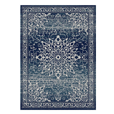 Kota 1427 Navy Blue Beige Transitional Patterned Rug - Rugs Of Beauty - 1